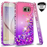 Galaxy S6 Glitter Case with Tempered Glass Screen Protector [2 Pack] for Girls Women, LeYi Bling Sparkle Diamond Liquid Quicksand Flowing TPU Protective Phone Case for Samsung Galaxy S6 Pink/Purple