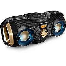 Phillips Bluetooth Boombox Speaker – Rugged, Portable, Wireless Radio, USB, AUX, and CD Music Player - 50 Watt, Dynamic Bass, Digital Display, Light Up Speaker - Model PX840T