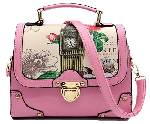 Retro Modern Handbag for Women with Shoulder Strap [ Two Way Bag Purse ] European British London Big Ben & Rose Flowers (Pink)