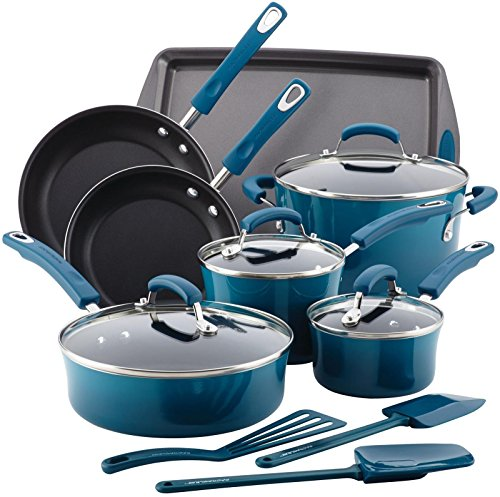 Rachael Ray 17626 14-Piece Aluminum Cookware Set, Marine Blue