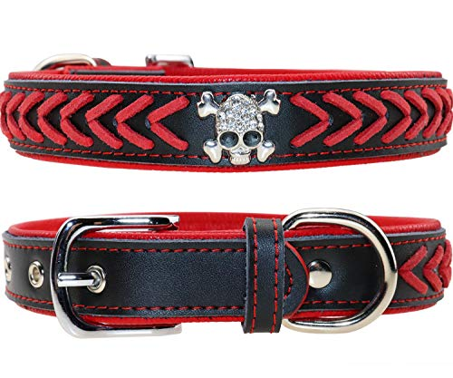 Vcalabashor Leather Dog Collar, Braided Dog Leather Collars Studded with Diamante Skull, Soft Padded Dog Collar,Red & Black Large ()