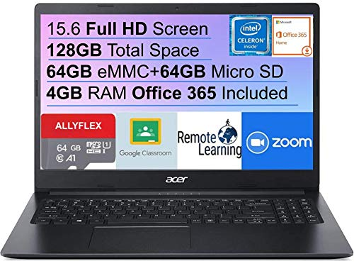 Newest Acer Aspire 1 15.6″ FHD Laptop for Business and Student, Intel Celeron N4020(Up to 2.8 GHz), 4GB RAM, 64GB eMM+64GB Micro SD, Up 10-Hours Battery Life, Microsoft 365 Personal, Win10+Allyflex MP