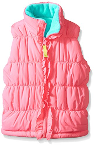 Hartstrings Little Girls' Reversible Puffer Vest, Palm Beach Pink, (Pink Reversible Vest)