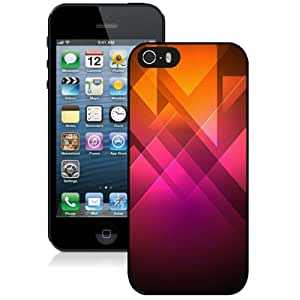 NEW Unique Custom Designed iPhone 5S Phone Case With Pink Orange Triangles Illustration_Black Phone Case
