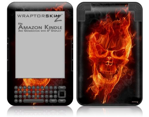 Flaming Fire Skull Orange - Decal Style Skin fits Amazon Kindle 3 Keyboard (with 6 inch display)