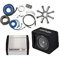 Kicker 43VCWR122 Comp R ported enclosure w/ 400 Watt Kicker 40KX4001 Amplifier, wiring kit, grille, and bass knob.