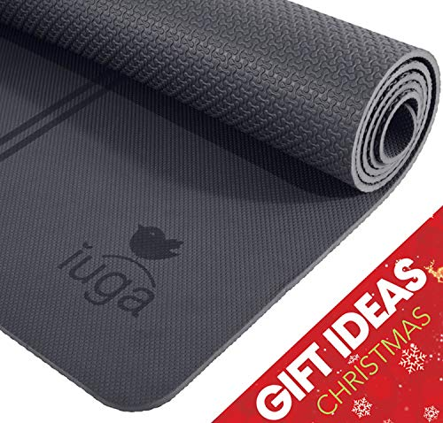 IUGA Eco Friendly Yoga Mat with Alignment Lines, Free Carry Strap, Non Slip TPE Yoga Mat for All...