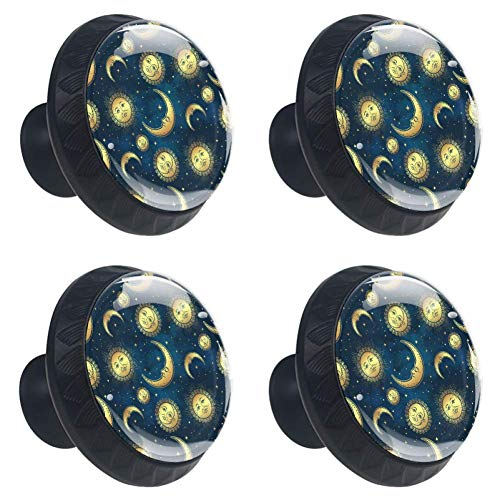(Idealiy Sun and Moon Pattern Drawer Pulls Handles Cabinet Dressing Table Dresser Knob Pull Handle with Screws 4pcs)