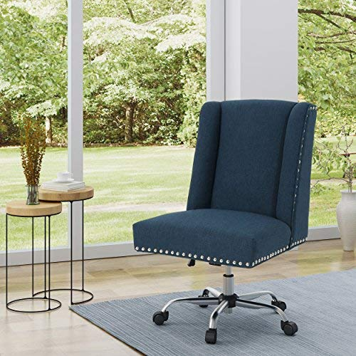 Christopher Knight Home 304857 Quentin Desk Chair, Navy Blue + Chrome