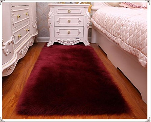 (Exquisite home Super Soft Faux Fur Rug Shaggy Fluffy Faux Sheepskin Rugs for Bedroom Kid's Room Wine)