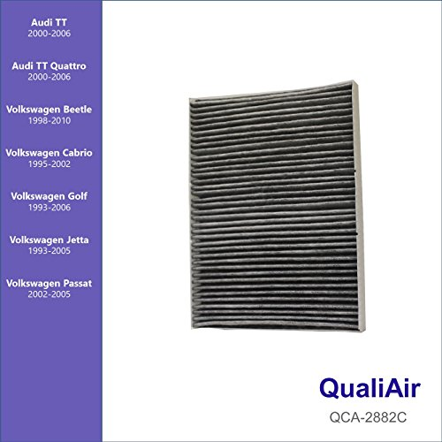 QualiAir QCA-2882C, Activated Carbon Cabin Air Filter for Audi, Volkswagen (1 Pack)