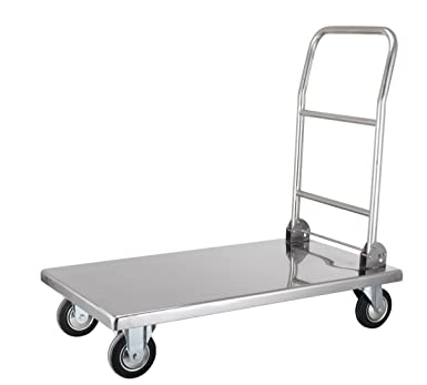 220f7354d85f Stainless Steel Platform Trolleys - Foldable Handle (Small): Amazon ...