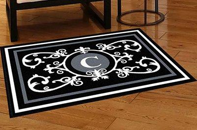 Edinburgh Estate Doormat - Monogrammed Black & White C 3 x 4