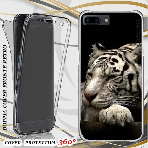 CUSTODIA COVER CASE SLEEEP TIGER PER IPHONE 7 PLUS FRONT BACK