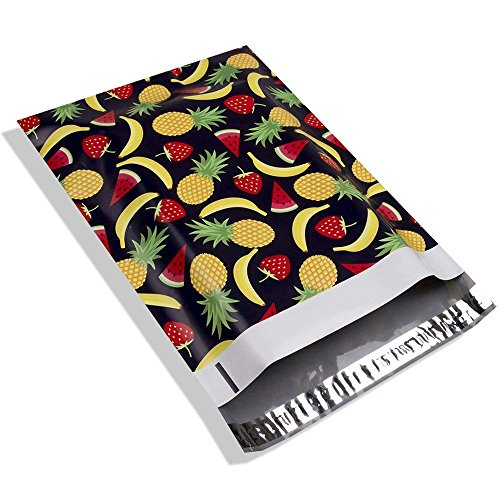 #4 10x13 Summer Fruits Designer Poly Mailers Shipping Envelopes Boutique Custom Bags 2.35MIL by Mailer Plus ()