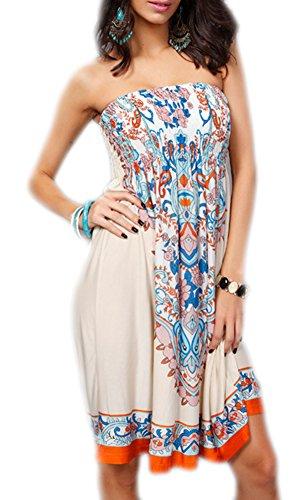 PAMOR Womens Bohemian Strapless Dress Hot Summer Beach Sundress Casual Tee Dress