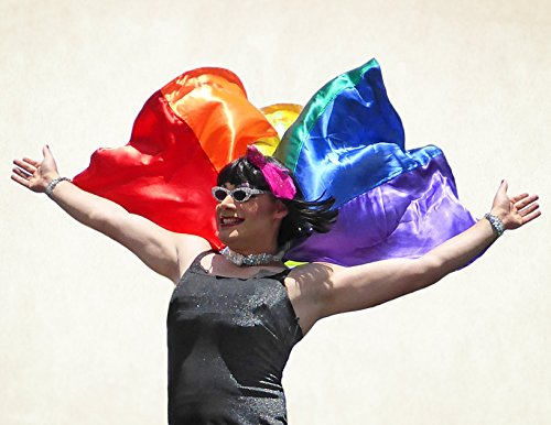 Handmade Pride parade cape with LGBT gay rainbow flag