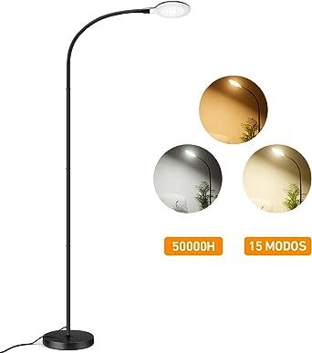 Lampara de Pie LED Moderna 800 Lúmenes con 15 Modos, TOPELEK Lampara Lectura Regulable con Diseño Nórdico, Brazo Flexible, Base Robusta, Montaje Fácil para Salon, Dormitorio y Escritorio: Amazon.es: Iluminación