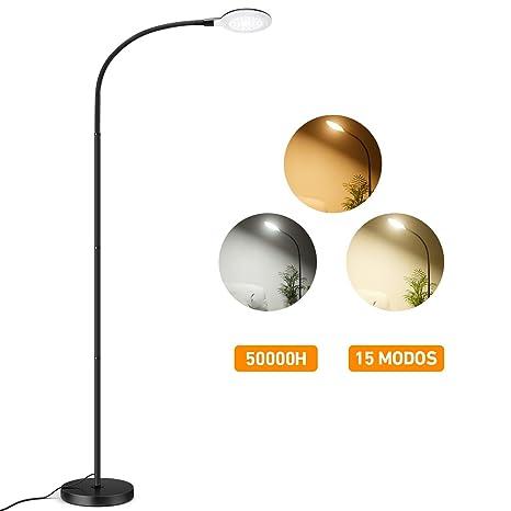 TOPELEK Lámpara de Pie Moderna, Lampara de Salón 57 LEDs con 5 Niveles de Brillo y 3 Colores de Luz, Cuello Flexible, Control Táctil