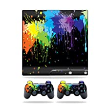 Mightyskins Protective Vinyl Skin Decal Cover for Sony Playstation 3 PS3 Slim skins + 2 Controller skins Sticker Splatter