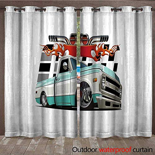 Truck Patio Gazebo Pergola Cabana Lowrider Pickup with Racing Flag Pattern Background Speeding on The Streets ModifiedW108 x L96 Multicolor