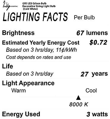 Judy Lighting - G95 LED Vintage Edison Bulb Decorative String Light Bulb 3W E27 AC 85-260V