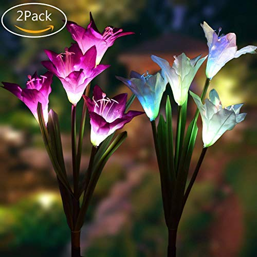 Solar Garden Stake Lights - 2 Pack Outdoor Solar Powered Lights with 8 Lily Flower, Multi-Color Changing LED Solar Decorative Lights for Garden, Patio, Backyard Decor (Purple & ()