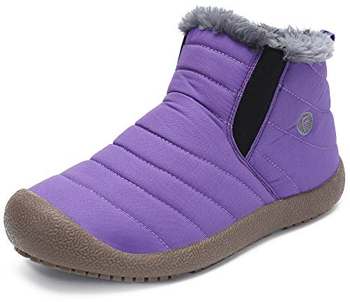 katliu Warm Faux Fur Lined Ankle Boots Womens Mens Casual Lightweight Non-Slip Outdoor Winter Shoes Purple