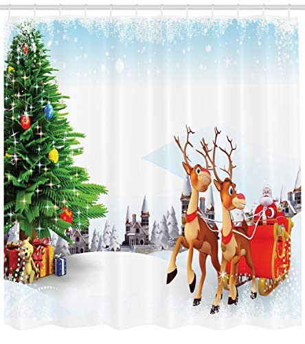 er Curtain, Snow Covered Christmas Village with Cartoon Santa on His Sleigh Big Tree and Boxes, Fabric Bathroom Decor Set with Hooks, 105 inches Extra Wide, Multicolor ()