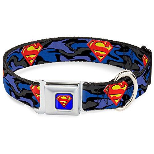 "Buckle-Down Seatbelt Buckle Dog Collar - Superman Shield Camo Blue - 1"" Wide - Fits 9-15"" Neck - Small"