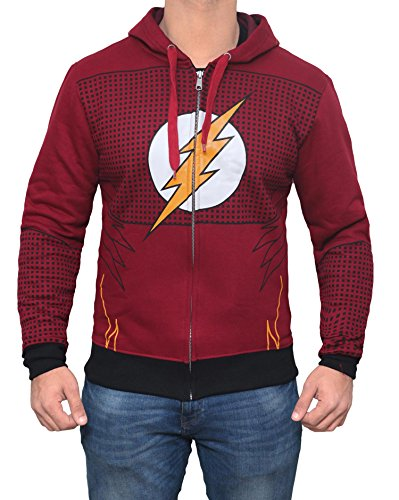 Flash 2017 Costume Hoodie - Mens Cotton Zip Up Hoodie by Miracle (Small)