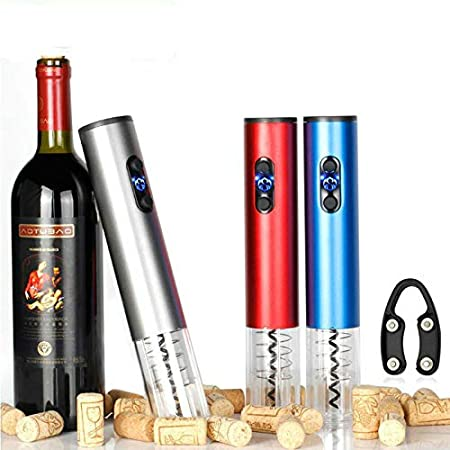 Supermega Abrebotellas eléctrico para Vino Sacacorchos Eléctrico Abre Vino Automático Profesional Abridor de Botellas Vino eléctrico ABSUltra Resistente (Gris)