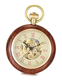 SwitchMe Men's Women's Copper&Wood Hand Wind Mechanical Pocket Watch Roman Numeral with Chain Beige