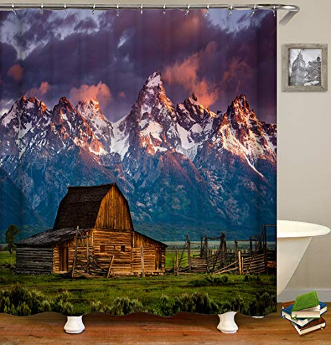 Alps Scenery Shower Curtain, Sunset French Country Mountain and Cabin, Upgrade Water-Proof Mold-Free Fabric Bath Decor, 70 by 70 Inch Without Hooks, Grass Green and Dark Brown