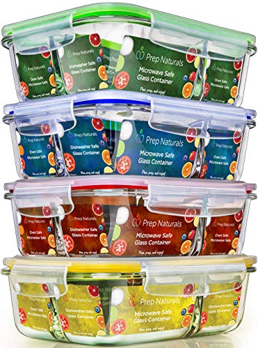 Glass Meal Prep Containers 3 Compartment - Food Containers Meal Prep Food Prep Containers Lunch Containers Glass Containers with lids Freezer Containers Bento Box Containers Bento lunch Box (Three Part Divided)