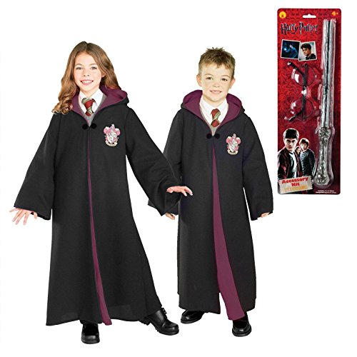 Harry Potter Gryffindor Robe Glasses and Wand Child Costume Bundle Set Large - Ron Burgundy Costume For Kids