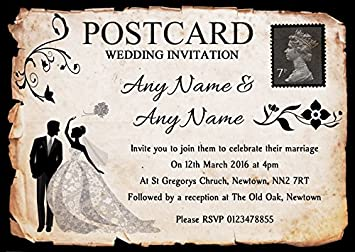 Black White Vintage Rustic Postcard Personalised Wedding Invitations