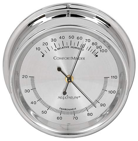 (Comfortminder Humidity Instrument - Chrome Case, Silver face )