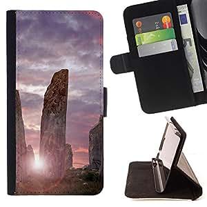 BullDog Case - FOR/Sony Xperia Z1 L39 / - / Architecture Ancient Stones Sunrise /- Monedero de cuero de la PU Llevar cubierta de la caja con el ID Credit Card Slots Flip funda de cuer