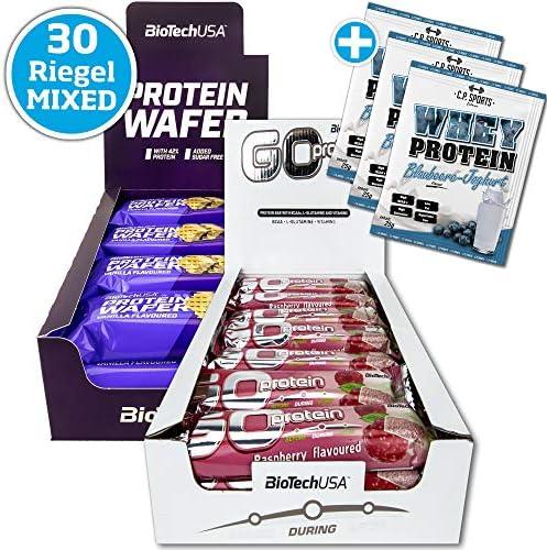 BioTech USA Protein Wafer MIX BOX 30 x 35g Riegel in 2 Geschmacksrichtungen mit 42% Proteingehalt ohne Zuckerzusatz + 3x Whey Protein 25g Portionsbeutel MIX gratis
