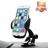 Budget&Good Windshield Dashboard Universal Car Mount, cell phone holder for General Mobile Phones,Car Holder for iphone SE/6/6 plus/5/5s/4s, Android Samsung Galaxy S6/S5, Note 4 and other Smartphones (Black)