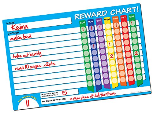 Dry Erase Reward Chart by Easy Study Tools ● X-LARGE 17in x 11in ● Restickable Behavior / Chore Responsibility Wall Decal ● Great For Kids & - Chart Homework Incentive