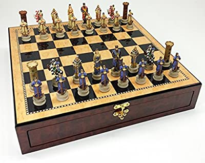 "Medieval Times Crusades King Richard the Lionheart Knight Chess Set W/ 17"" Gloss Storage Board"