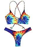 Women Colorful Criss Cross Tie Dye Braided Bikini Set Beachwear Bathing Suits (L, Blue)