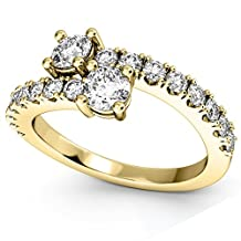 """14k Gold Women's """"Ever Us"""" Two Stone Diamond Ring with Accents"""