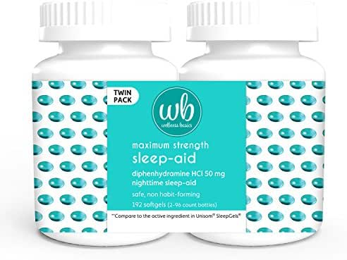 Wellness Basics Maximum Strength Sleep-Aid Diphenhydramine Softgel Twin Pack, 192 Count