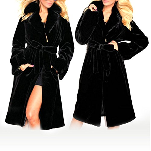 Amazon.com: Women Winter Warm Outwear Clothing Artificial Imitation Fur Coat Lengthened Windproof Hooded Coat with Belt Black Size M: Home & Kitchen