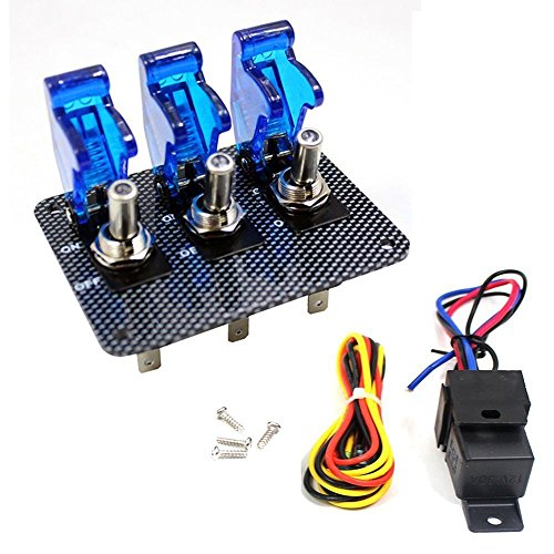 gle Switch Panel Carbon Fiber for Racing Car Engine Start Ignition (Blue Cover) ()