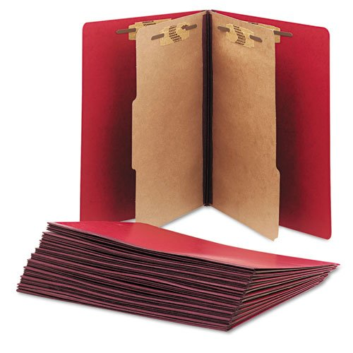 2 Dividers 6 Partitions Letter (SKILCRAFT 7530-01-556-7917 Pressboard Classification Folder, Letter Size, Dark Red (Box of 10))