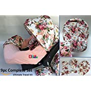 9pc Baby Girl Ultimate Set of Infant Car Seat Cover Canopy Headrest Blanket Hat Nursing Scarf, 25JE10